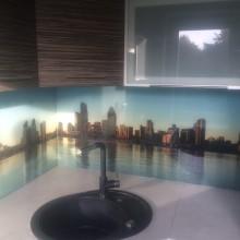 Stiklas su vaizdu virtuvei